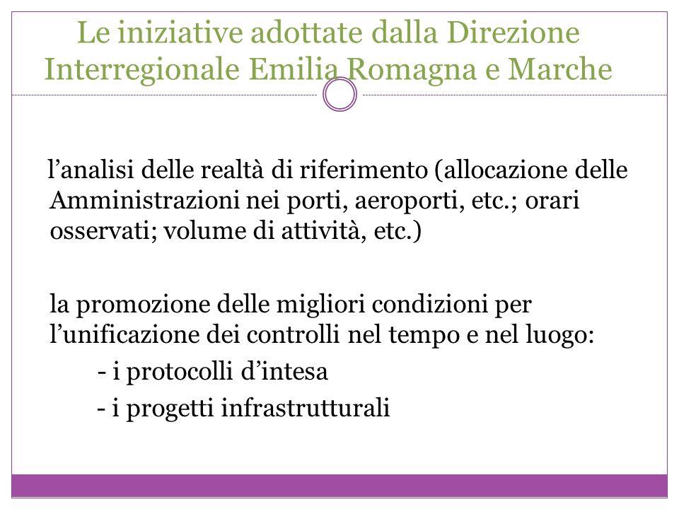 Le iniziative adottate dalla Direzione Interregionale Emilia Romagna e Marche lanalisi delle realtà di riferimento (allocazione delle Amministrazioni