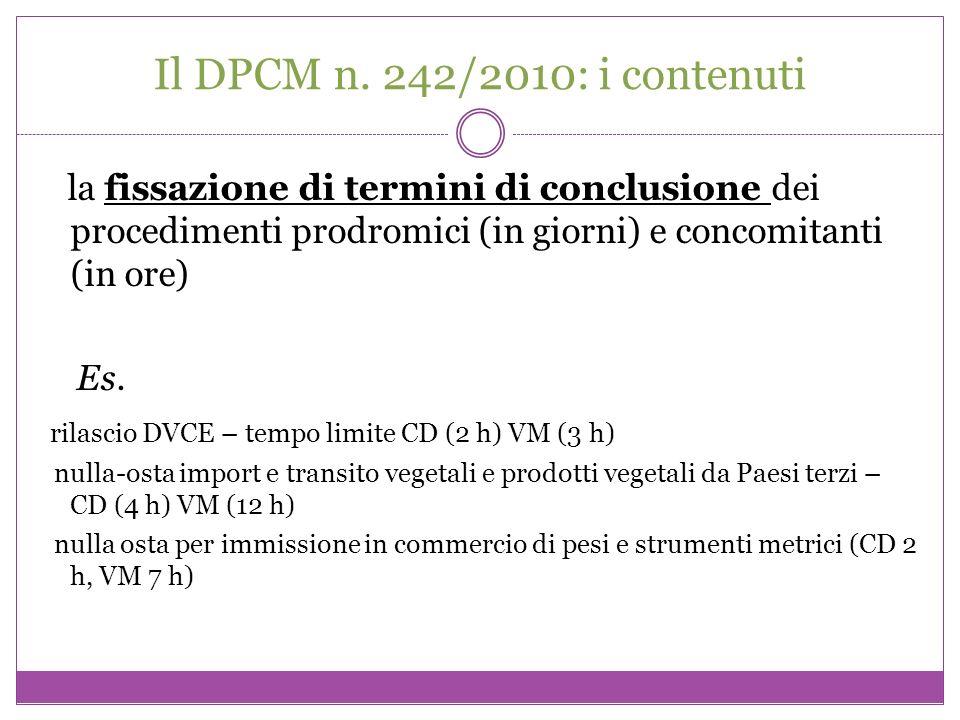 Il DPCM n. 242/2010: i contenuti la fissazione di termini di conclusione dei procedimenti prodromici (in giorni) e concomitanti (in ore) Es. rilascio