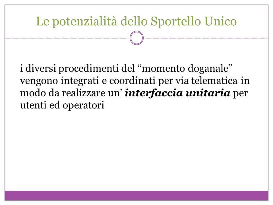 Le potenzialità dello Sportello Unico i diversi procedimenti del momento doganale vengono integrati e coordinati per via telematica in modo da realizz