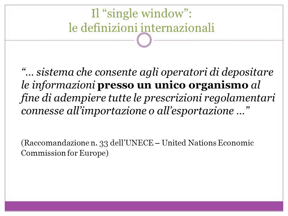 Il single window: le definizioni internazionali … sistema che consente agli operatori di depositare le informazioni presso un unico organismo al fine