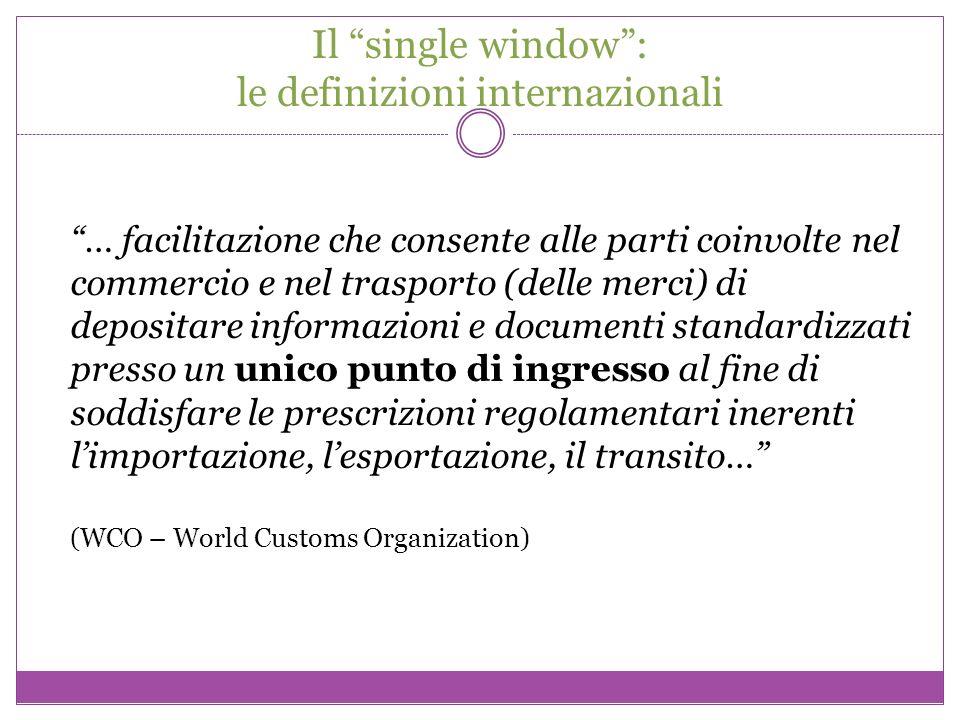 Il single window: le definizioni internazionali … facilitazione che consente alle parti coinvolte nel commercio e nel trasporto (delle merci) di depos