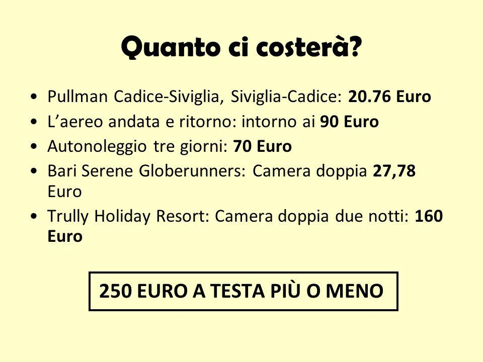Quanto ci costerà? Pullman Cadice-Siviglia, Siviglia-Cadice: 20.76 Euro Laereo andata e ritorno: intorno ai 90 Euro Autonoleggio tre giorni: 70 Euro B