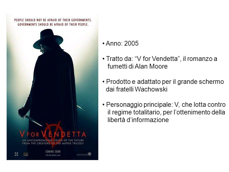 Anno: 2005 Tratto da: V for Vendetta, il romanzo a fumetti di Alan Moore Prodotto e adattato per il grande schermo dai fratelli Wachowski Personaggio