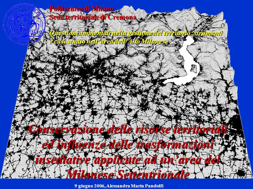 Conservazione delle risorse territoriali ed influenze delle trasformazioni insediative applicate ad unarea del Milanese Settentrionale Scopo: Ottenere un riscontro empirico teorico ed una consultazione funzionale dei dati raccolti allinterno di un unico DB c) Sotto-fase analitica: costruzione del DB territoriale 2.