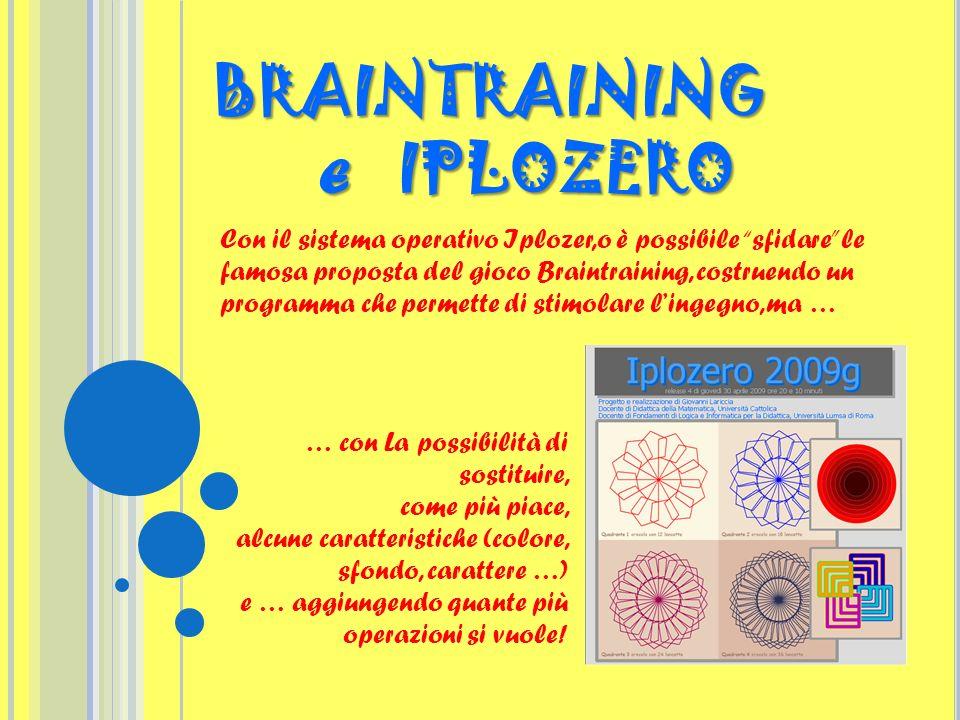 Con il sistema operativo Iplozer,o è possibile sfidare le famosa proposta del gioco Braintraining, costruendo un programma che permette di stimolare l
