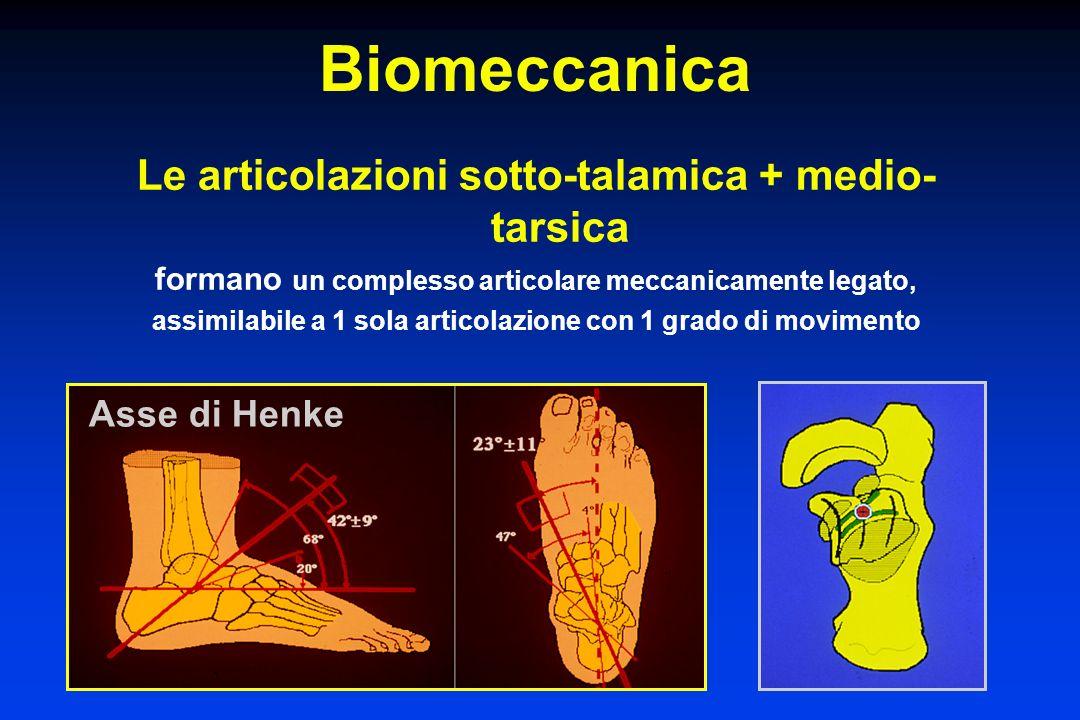 Biomeccanica Le articolazioni sotto-talamica + medio- tarsica formano un complesso articolare meccanicamente legato, assimilabile a 1 sola articolazio