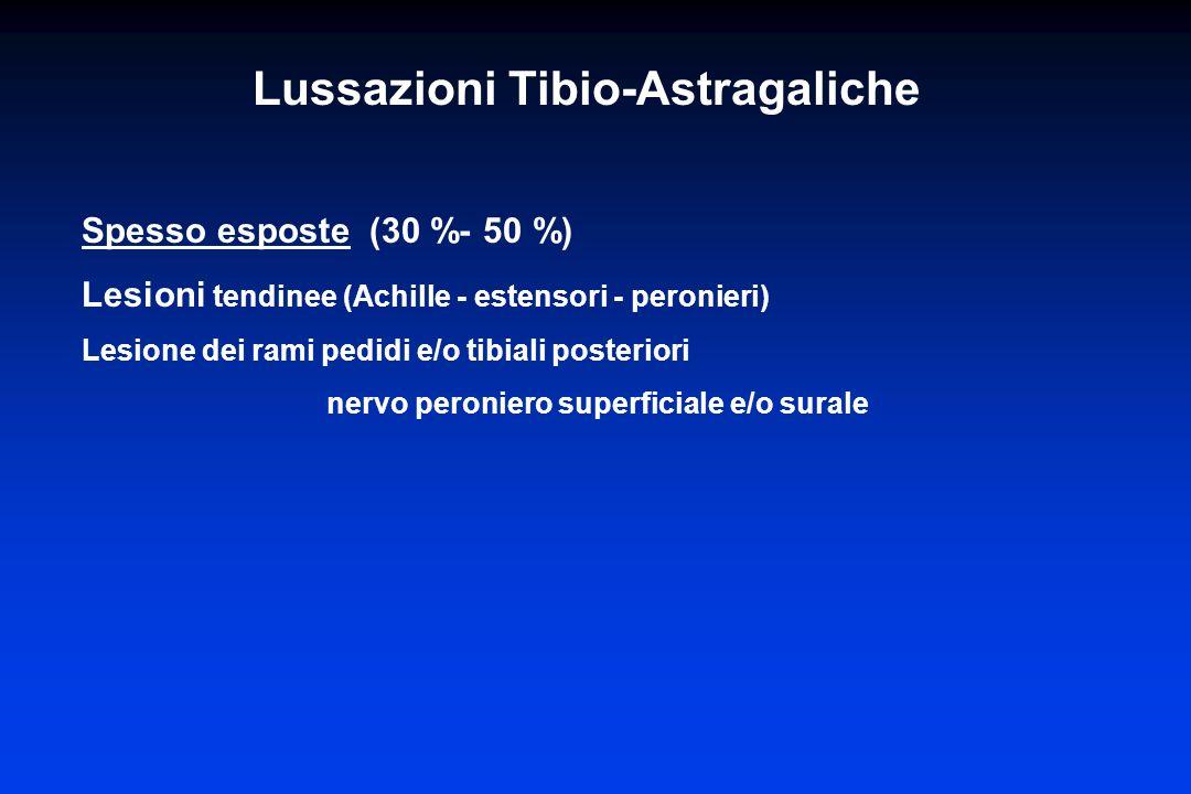 Spesso esposte (30 %- 50 %) Lesioni tendinee (Achille - estensori - peronieri) Lesione dei rami pedidi e/o tibiali posteriori nervo peroniero superfic