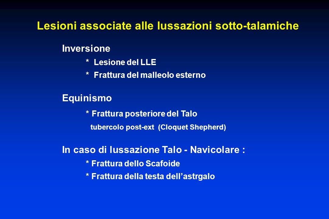 Lesioni associate alle lussazioni sotto-talamiche Inversione * Lesione del LLE * Frattura del malleolo esterno Equinismo * Frattura posteriore del Tal