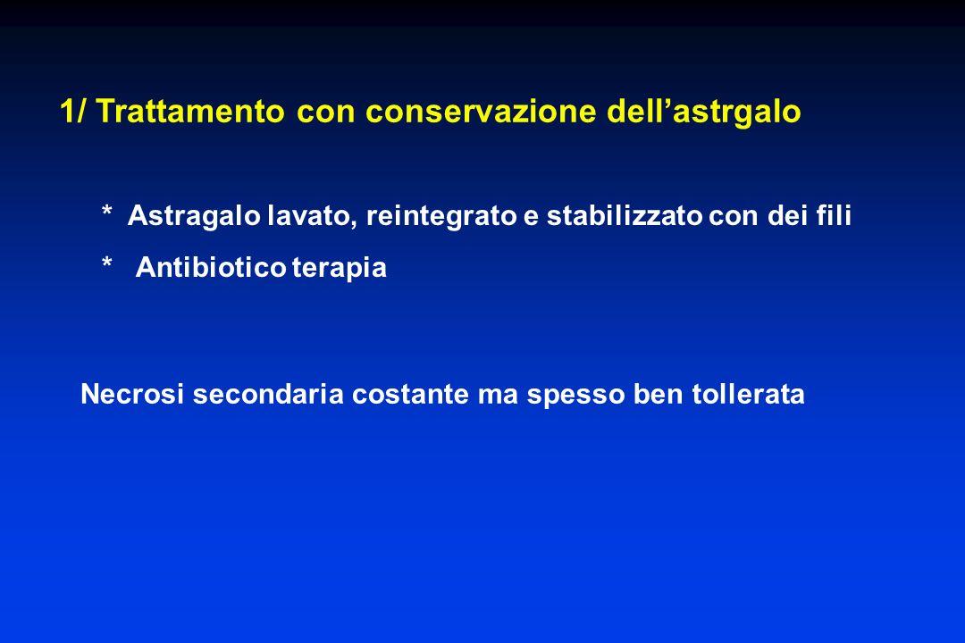 1/ Trattamento con conservazione dellastrgalo Necrosi secondaria costante ma spesso ben tollerata * Astragalo lavato, reintegrato e stabilizzato con d