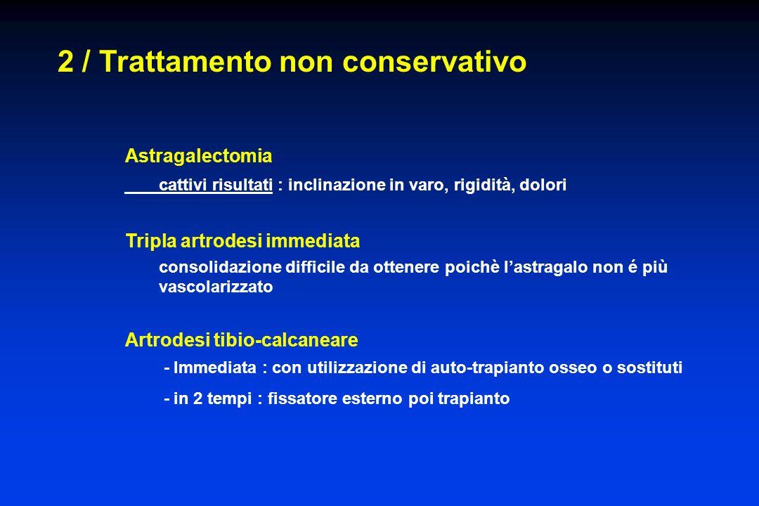 2 / Trattamento non conservativo Astragalectomia cattivi risultati : inclinazione in varo, rigidità, dolori Tripla artrodesi immediata consolidazione