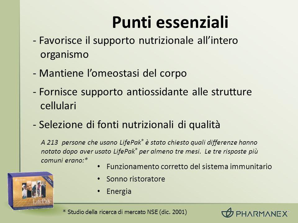 Punti essenziali - Favorisce il supporto nutrizionale allintero organismo - Mantiene lomeostasi del corpo - Fornisce supporto antiossidante alle strut