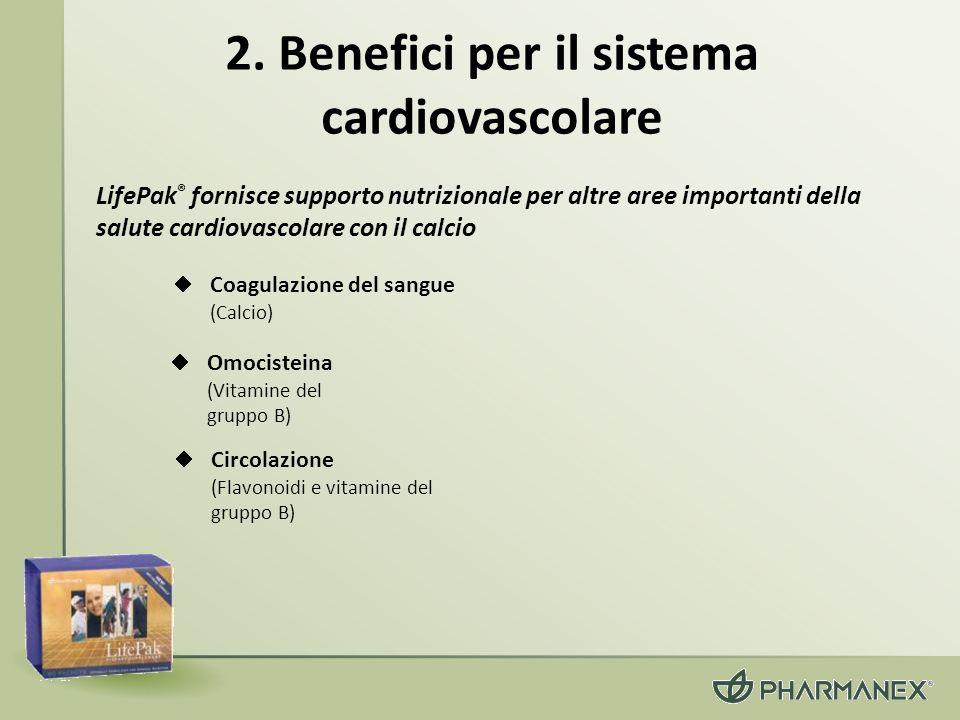2. Benefici per il sistema cardiovascolare Omocisteina (Vitamine del gruppo B) Coagulazione del sangue (Calcio) LifePak ® fornisce supporto nutriziona