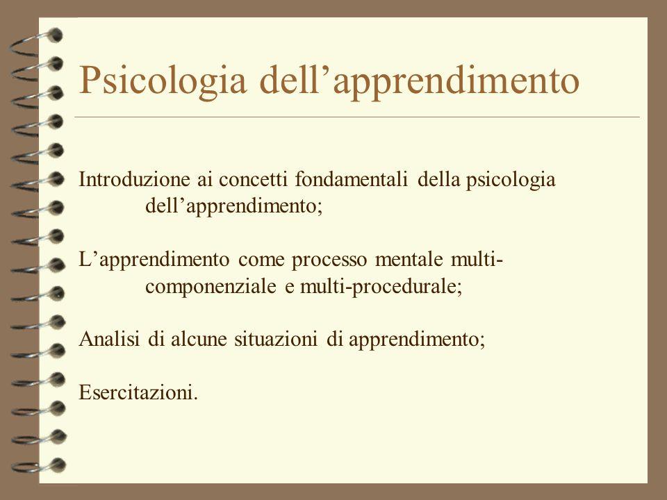 Psicologia dellapprendimento Introduzione ai concetti fondamentali della psicologia dellapprendimento; Lapprendimento come processo mentale multi- com