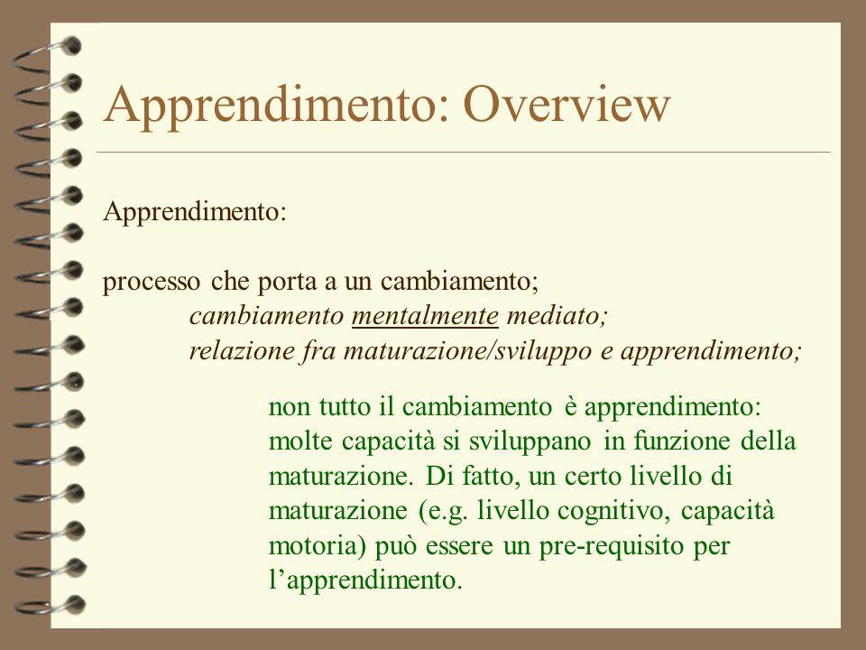 Apprendimento: Overview Apprendimento: processo che porta a un cambiamento; cambiamento mentalmente mediato; relazione fra maturazione/sviluppo e appr