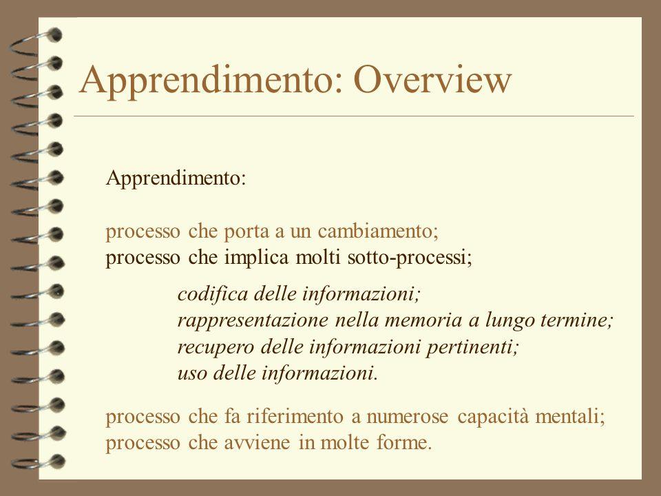 Apprendimento: Overview Apprendimento: processo che porta a un cambiamento; processo che implica molti sotto-processi; processo che fa riferimento a n