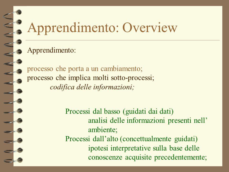 Apprendimento: Overview Apprendimento: processo che porta a un cambiamento; processo che implica molti sotto-processi; codifica delle informazioni; Pr