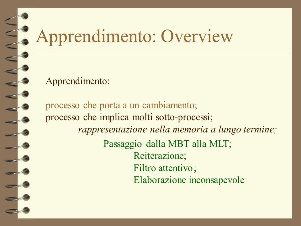 Apprendimento: Overview Apprendimento: processo che porta a un cambiamento; processo che implica molti sotto-processi; rappresentazione nella memoria