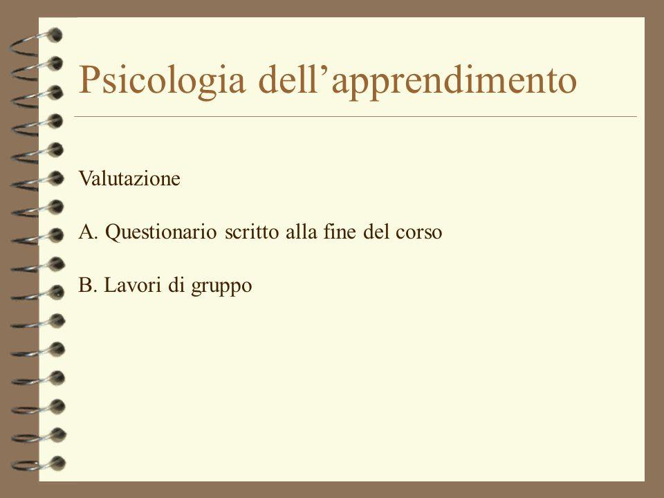 Psicologia dellapprendimento Valutazione A. Questionario scritto alla fine del corso B. Lavori di gruppo