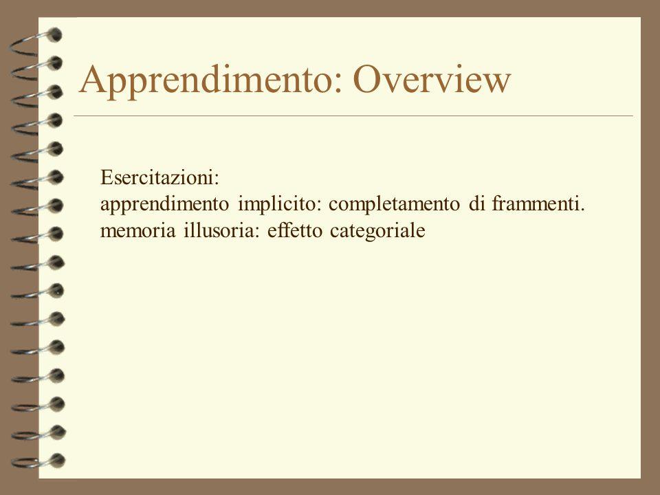 Apprendimento: Overview Esercitazioni: apprendimento implicito: completamento di frammenti. memoria illusoria: effetto categoriale
