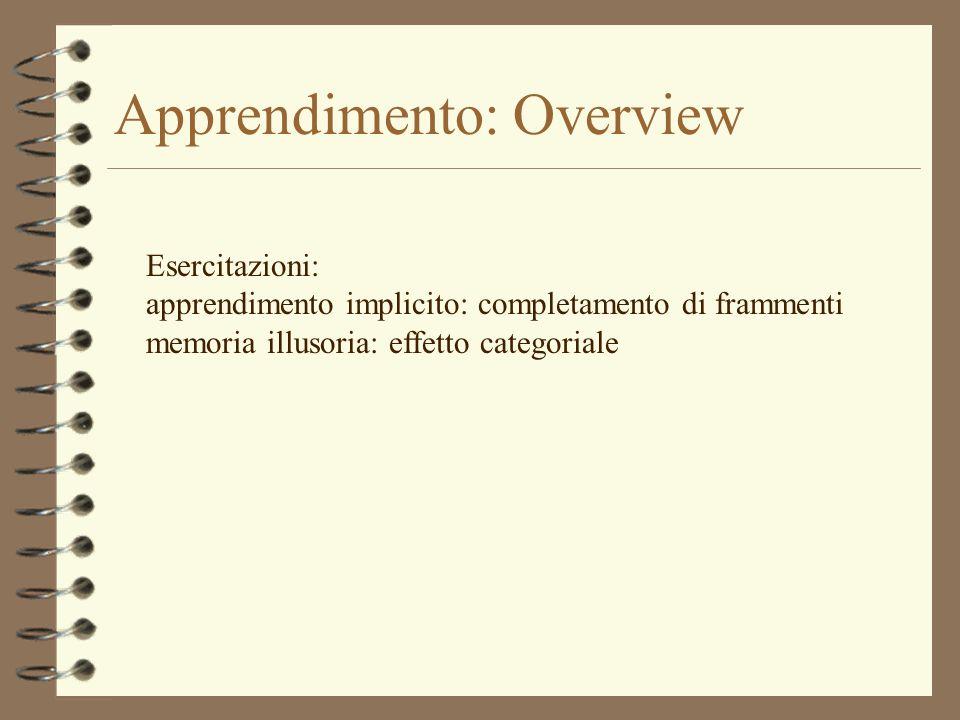 Apprendimento: Overview Esercitazioni: apprendimento implicito: completamento di frammenti memoria illusoria: effetto categoriale