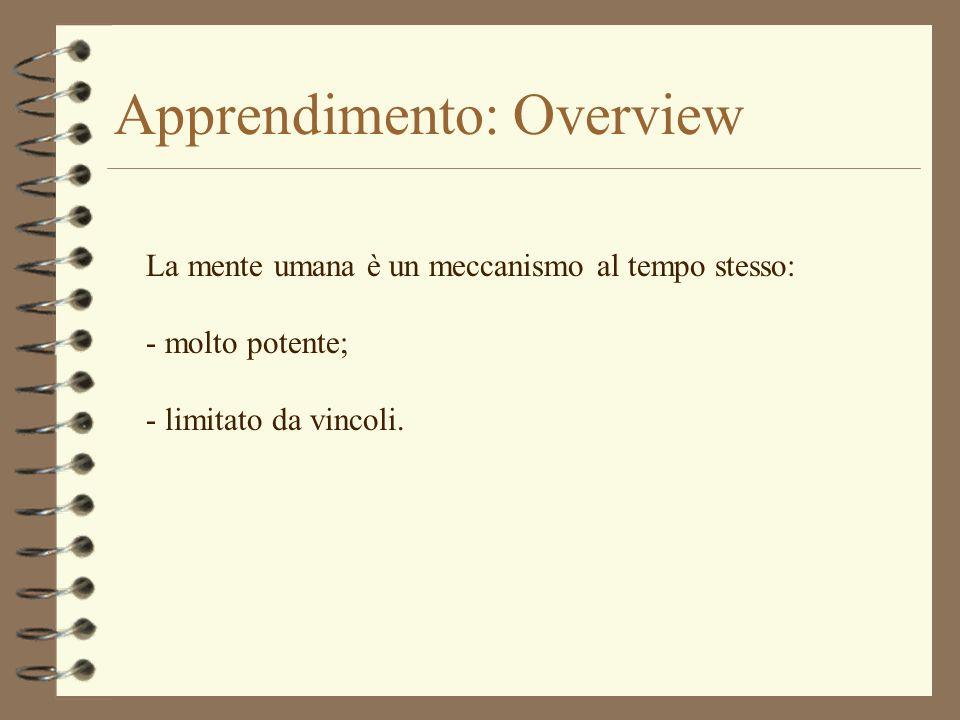 Apprendimento: Overview La mente umana è un meccanismo al tempo stesso: - molto potente; - limitato da vincoli.