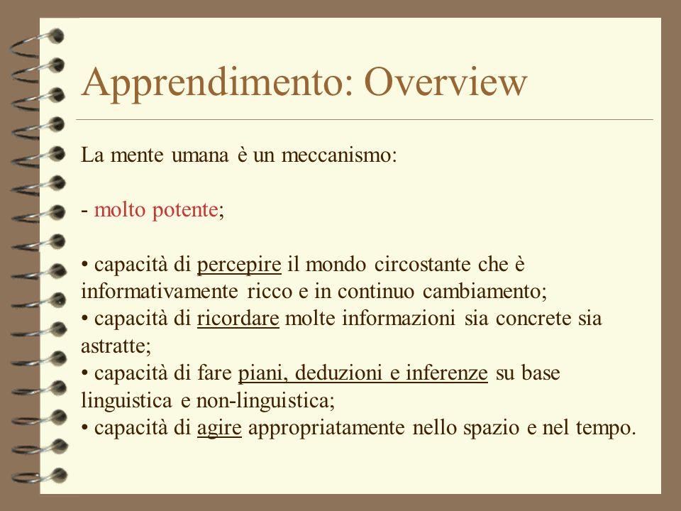 Apprendimento: Overview Apprendimento: processo che porta a un cambiamento; processo che implica molti sotto-processi; processo che fa riferimento a numerose capacità mentali; sistemi di supervisione; meta-cognizione; teoria della mente.