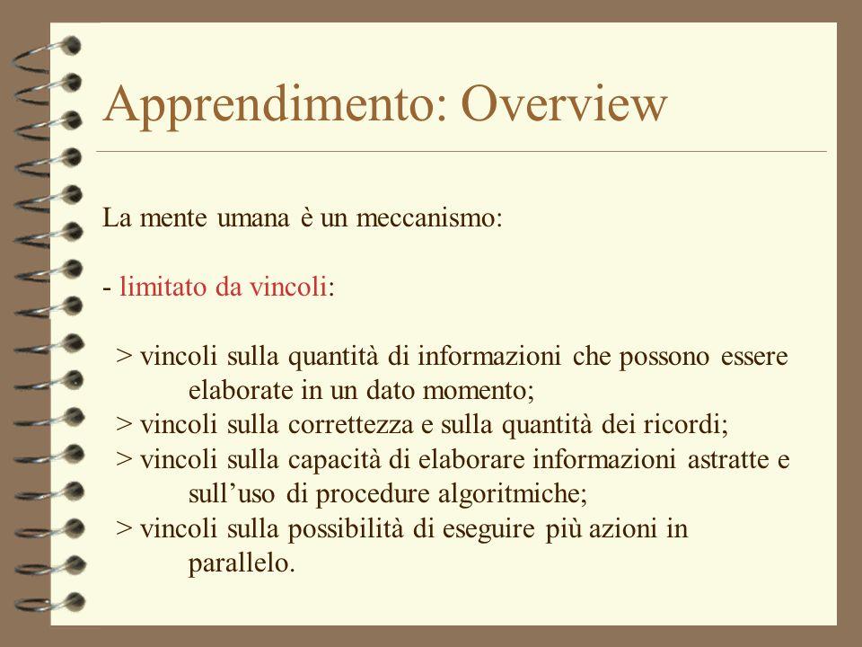 Apprendimento: Overview La mente umana è un meccanismo: - limitato da vincoli: > vincoli sulla quantità di informazioni che possono essere elaborate i