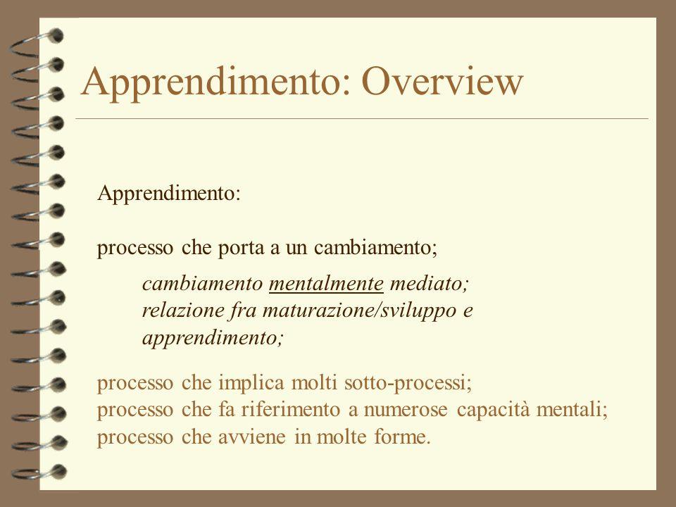 Apprendimento: Overview Apprendimento: processo che porta a un cambiamento; cambiamento mentalmente mediato; lapprendimento, qualsiasi sia il dominio al quale viene applicato, è sempre un cambiamento nella rappresentazione mentale dellindividuo.