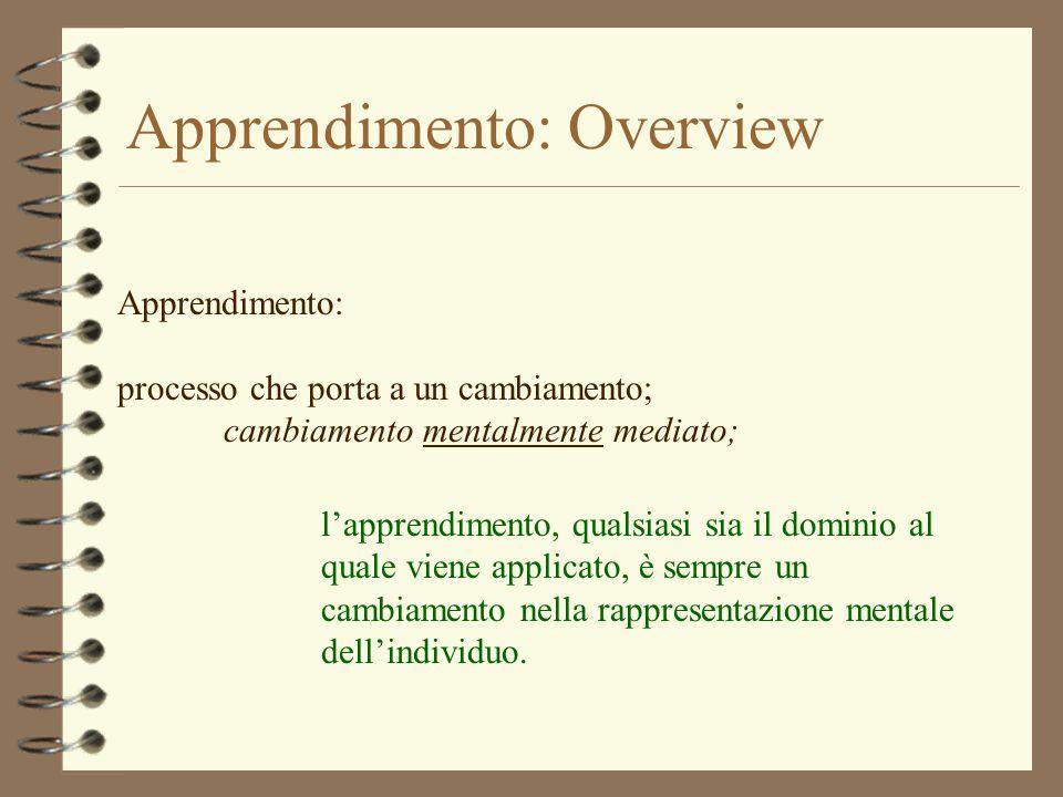 Apprendimento: Overview Apprendimento: processo che porta a un cambiamento; cambiamento mentalmente mediato; lapprendimento, qualsiasi sia il dominio