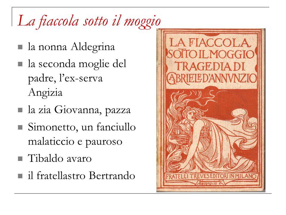 La fiaccola sotto il moggio la nonna Aldegrina la seconda moglie del padre, lex-serva Angizia la zia Giovanna, pazza Simonetto, un fanciullo malaticci