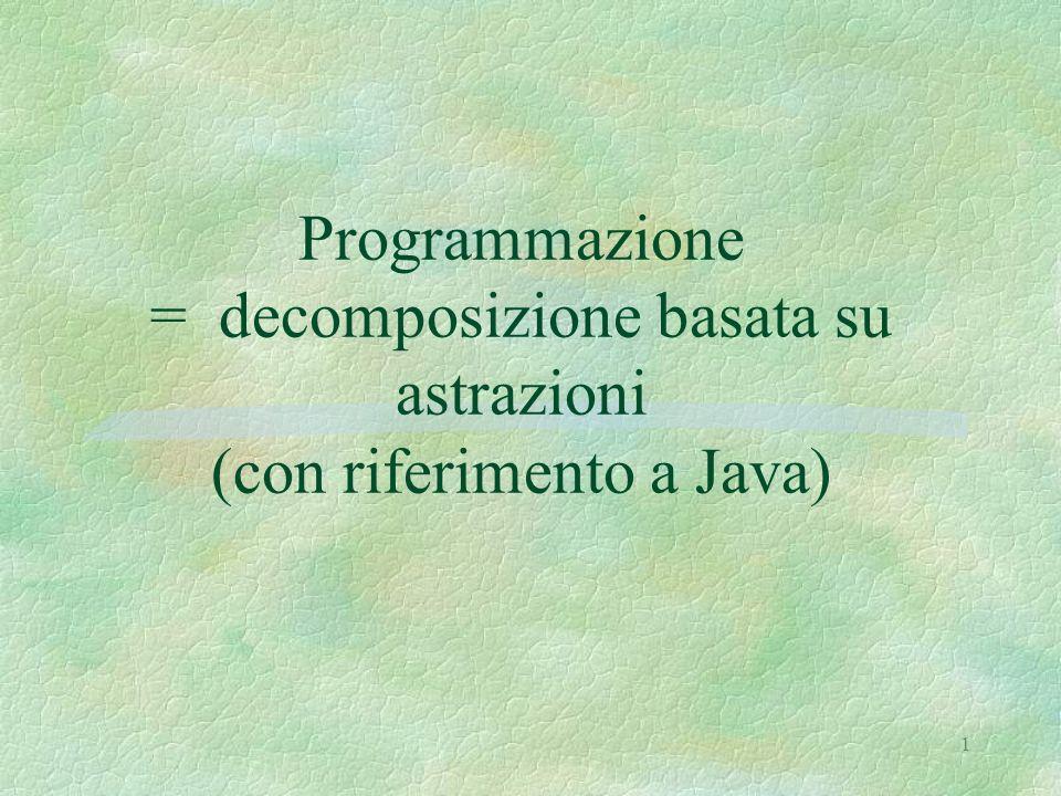 1 Programmazione = decomposizione basata su astrazioni (con riferimento a Java)