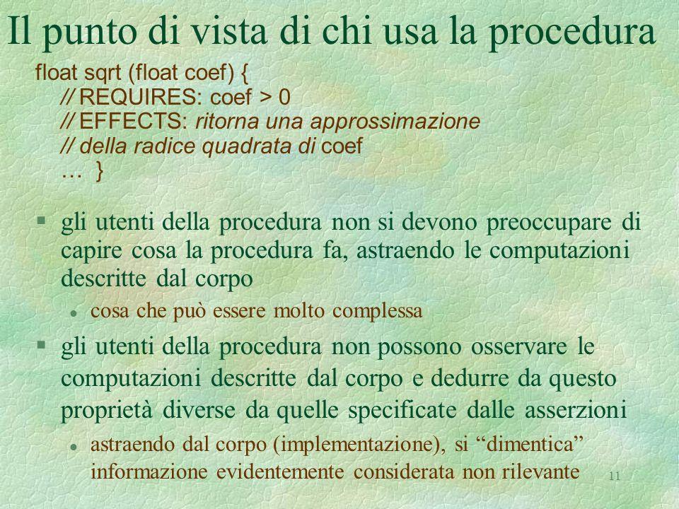 11 Il punto di vista di chi usa la procedura float sqrt (float coef) { // REQUIRES: coef > 0 // EFFECTS: ritorna una approssimazione // della radice q