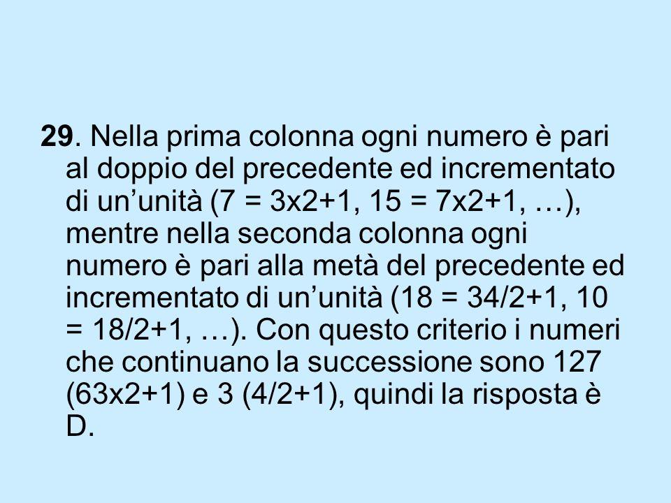 29. Nella prima colonna ogni numero è pari al doppio del precedente ed incrementato di ununità (7 = 3x2+1, 15 = 7x2+1, …), mentre nella seconda colonn