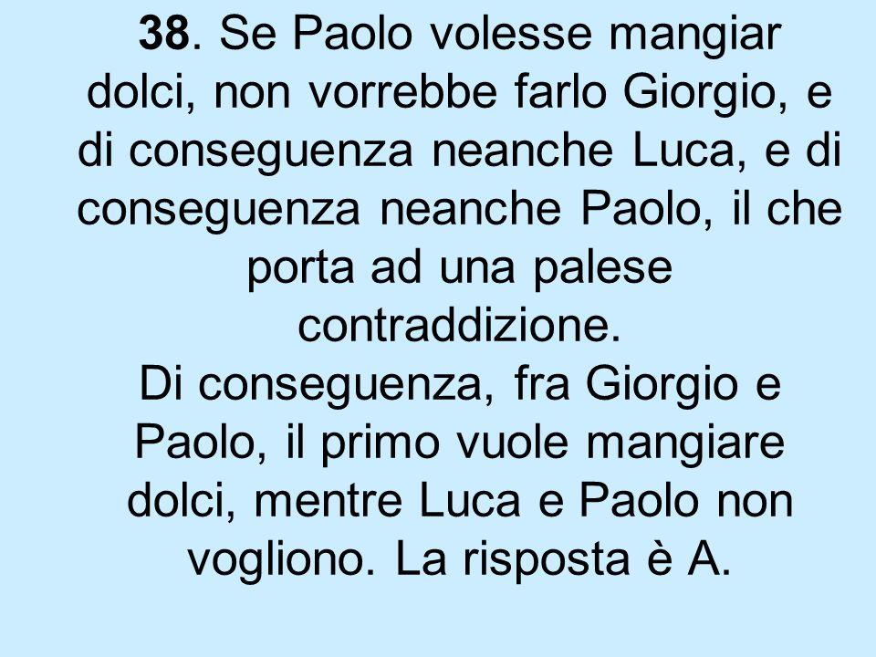 38. Se Paolo volesse mangiar dolci, non vorrebbe farlo Giorgio, e di conseguenza neanche Luca, e di conseguenza neanche Paolo, il che porta ad una pal