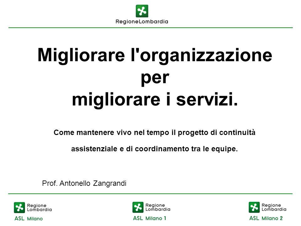Migliorare l organizzazione per migliorare i servizi.