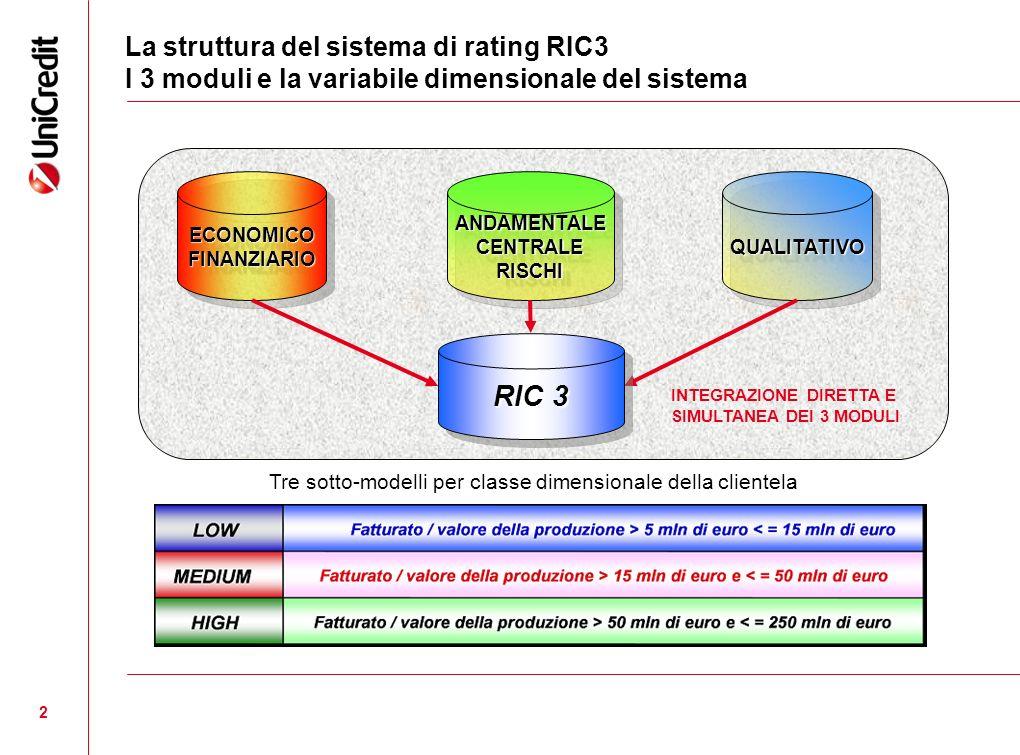 2 La struttura del sistema di rating RIC3 I 3 moduli e la variabile dimensionale del sistema ECONOMICOFINANZIARIOECONOMICOFINANZIARIOQUALITATIVOQUALIT