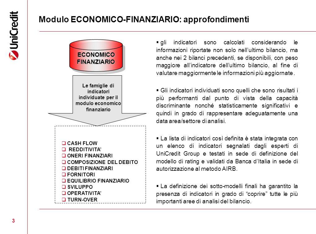 3 Modulo ECONOMICO-FINANZIARIO: approfondimenti Le famiglie di indicatori individuate per il modulo economico finanziario CASH FLOW REDDITIVITA ONERI