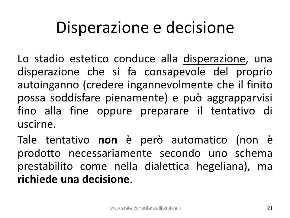 Disperazione e decisione Lo stadio estetico conduce alla disperazione, una disperazione che si fa consapevole del proprio autoinganno (credere inganne