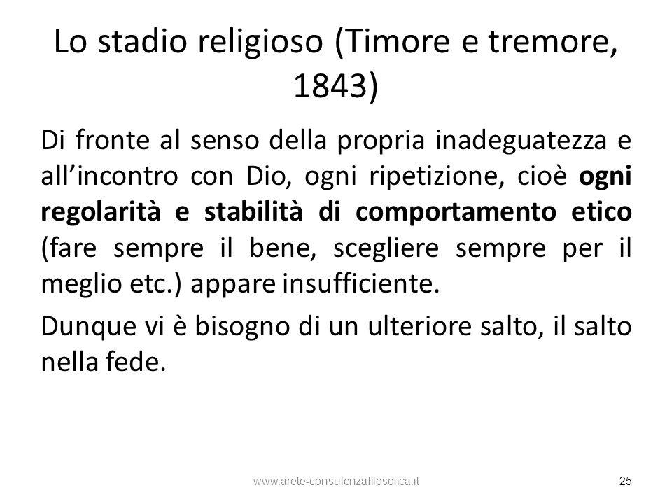 Lo stadio religioso (Timore e tremore, 1843) Di fronte al senso della propria inadeguatezza e allincontro con Dio, ogni ripetizione, cioè ogni regolar