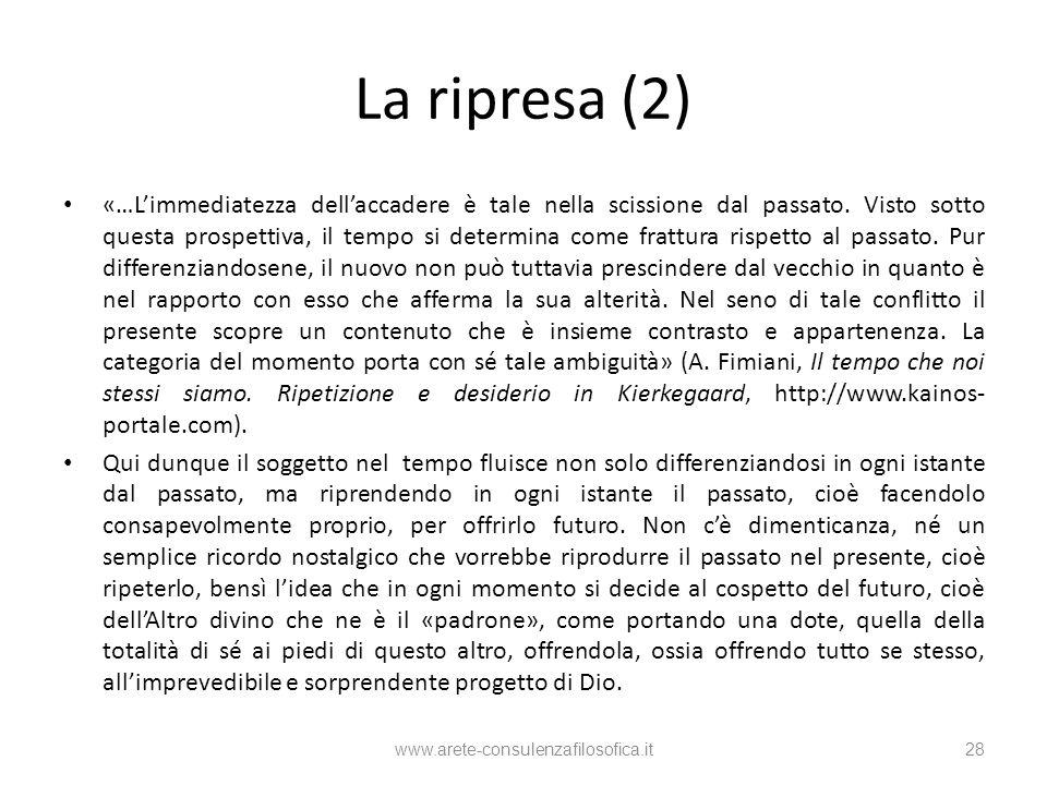 La ripresa (2) «…Limmediatezza dellaccadere è tale nella scissione dal passato. Visto sotto questa prospettiva, il tempo si determina come frattura ri