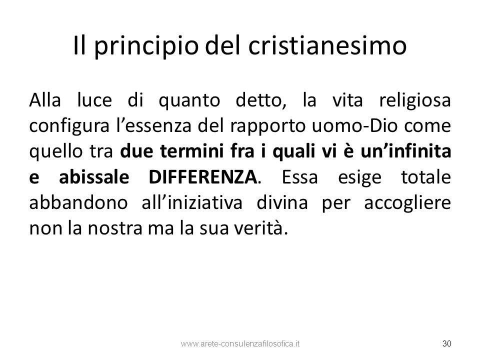Il principio del cristianesimo Alla luce di quanto detto, la vita religiosa configura lessenza del rapporto uomo-Dio come quello tra due termini fra i