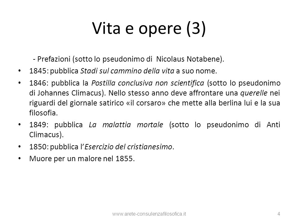 Vita e opere (3) - Prefazioni (sotto lo pseudonimo di Nicolaus Notabene). 1845: pubblica Stadi sul cammino della vita a suo nome. 1846: pubblica la Po