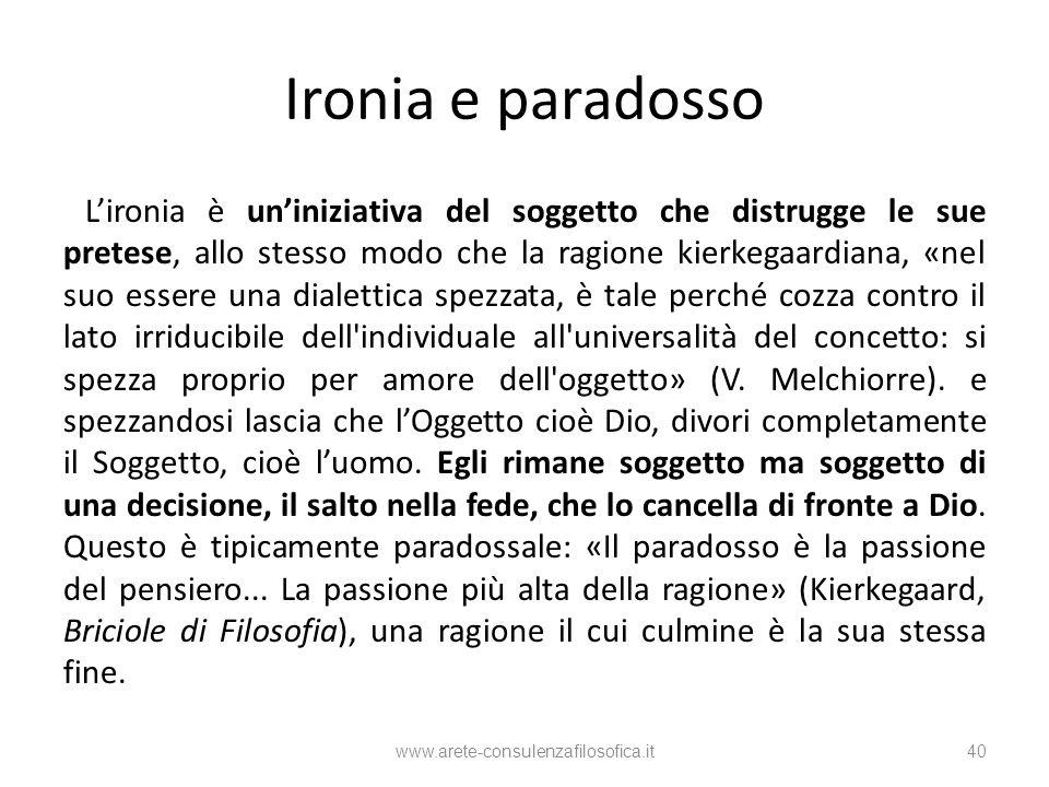 Ironia e paradosso Lironia è uniniziativa del soggetto che distrugge le sue pretese, allo stesso modo che la ragione kierkegaardiana, «nel suo essere