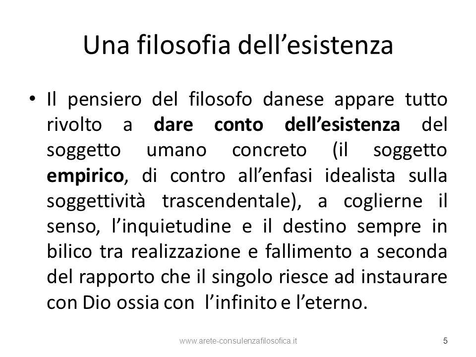 Una filosofia dellesistenza Il pensiero del filosofo danese appare tutto rivolto a dare conto dellesistenza del soggetto umano concreto (il soggetto e