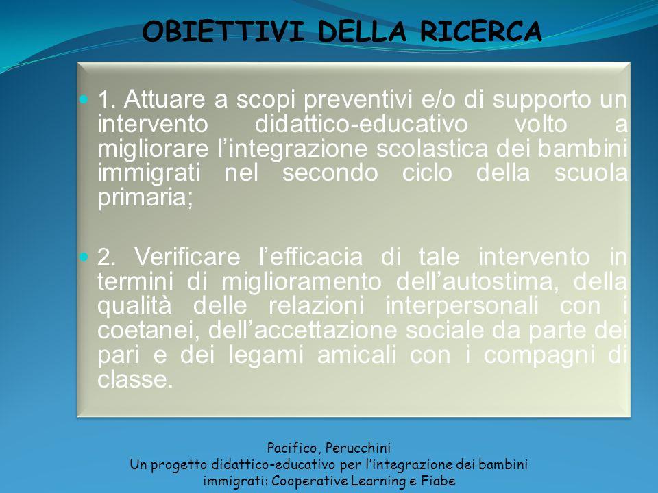 OBIETTIVI DELLA RICERCA Pacifico, Perucchini Un progetto didattico-educativo per lintegrazione dei bambini immigrati: Cooperative Learning e Fiabe 1.