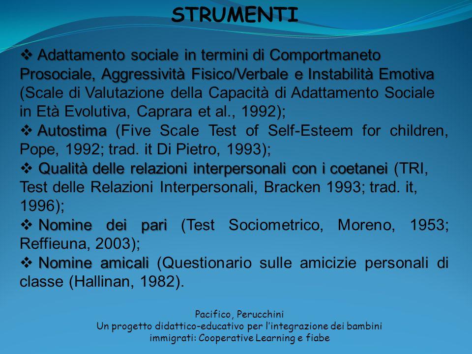 STRUMENTI Adattamento sociale in termini di Comportmaneto Prosociale, Aggressività Fisico/Verbale e Instabilità Emotiva Adattamento sociale in termini