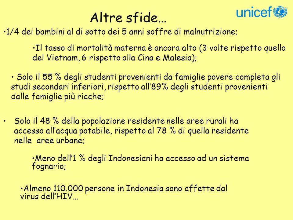 Strategia UNICEF Indonesia: Advocacy Rafforzare le capacità tecniche e strutturali del GoI (salute, educazione, registrazione nascite, prevenzione HIV/AIDS, prontezza nelle emergenze…) Far si che la decentralizzazione sia a misura di bambino…