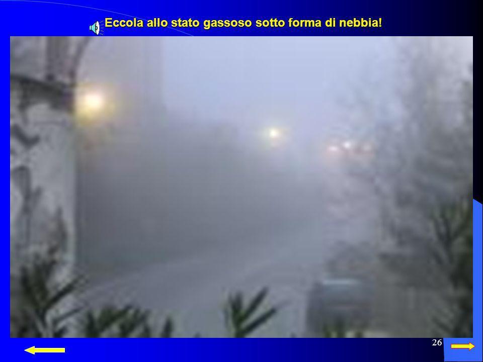 25 L'acqua allo stato gassoso si trova nell'atmosfera sotto forma di nebbia, vapore acqueo, nuvole.