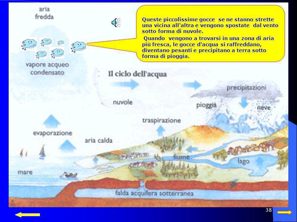37 Da sempre si ripete il ciclo Da sempre si ripete il ciclo Il sole riscalda lacqua del mare, dei fiume ecc. che evaporando si trasforma in gocciolin