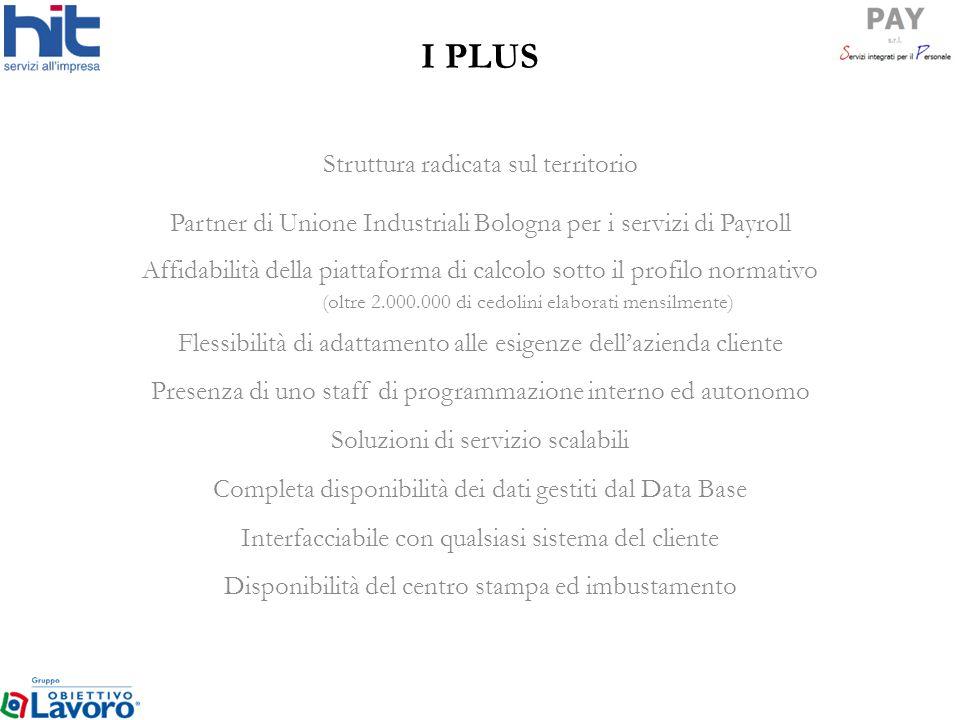 I PLUS Struttura radicata sul territorio Partner di Unione Industriali Bologna per i servizi di Payroll Affidabilità della piattaforma di calcolo sott